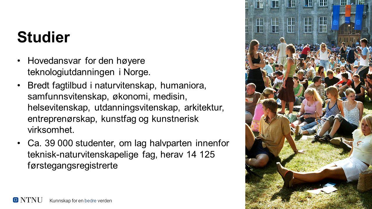 Kunnskap for en bedre verden Studier Hovedansvar for den høyere teknologiutdanningen i Norge. Bredt fagtilbud i naturvitenskap, humaniora, samfunnsvit