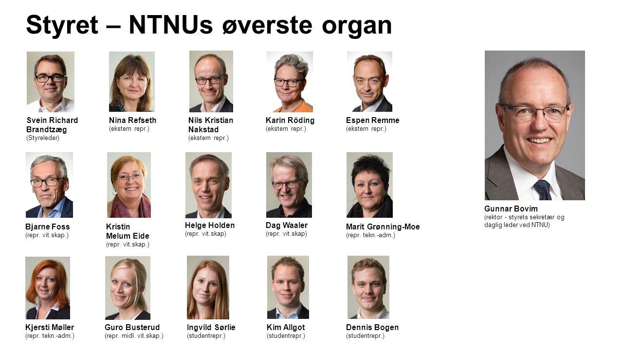 Styret – NTNUs øverste organ Gunnar Bovim (rektor - styrets sekretær og daglig leder ved NTNU) Svein Richard Brandtzæg (Styreleder) Nils Kristian Naks