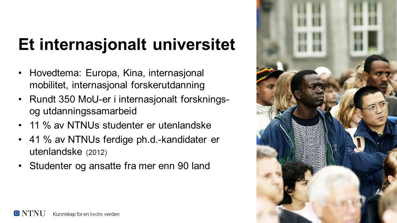 Kunnskap for en bedre verden Et internasjonalt universitet Hovedtema: Europa, Kina, internasjonal mobilitet, internasjonal forskerutdanning Rundt 350