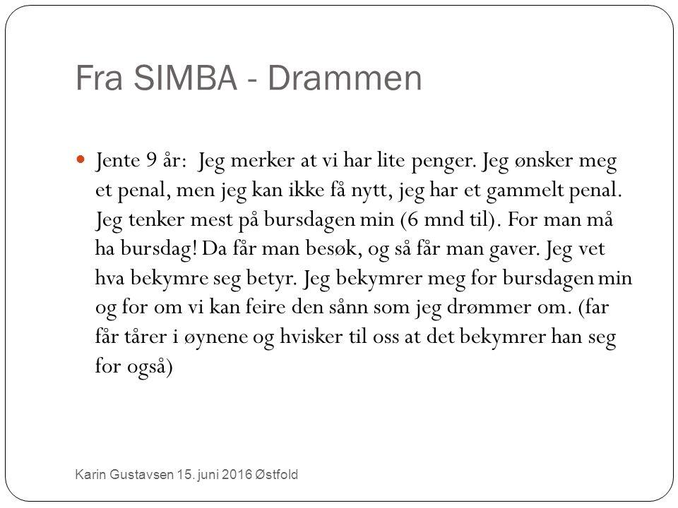 Fra SIMBA - Drammen Karin Gustavsen 15.