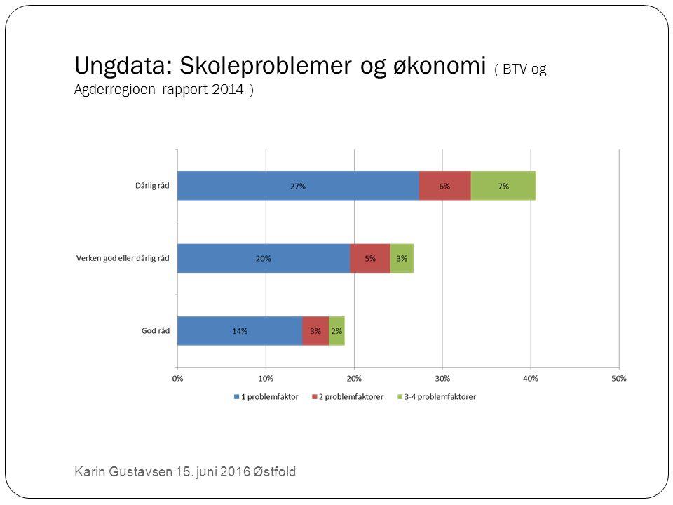 Ungdata: Skoleproblemer og økonomi ( BTV og Agderregioen rapport 2014 ) Karin Gustavsen 15.