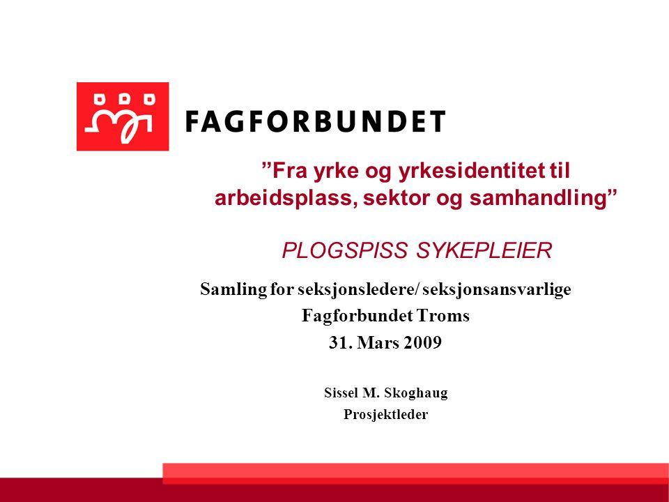 Fra yrke og yrkesidentitet til arbeidsplass, sektor og samhandling PLOGSPISS SYKEPLEIER Samling for seksjonsledere/ seksjonsansvarlige Fagforbundet Troms 31.