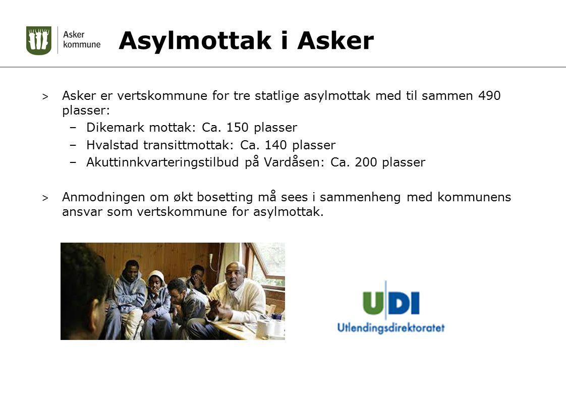 Asylmottak i Asker > Asker er vertskommune for tre statlige asylmottak med til sammen 490 plasser: –Dikemark mottak: Ca.