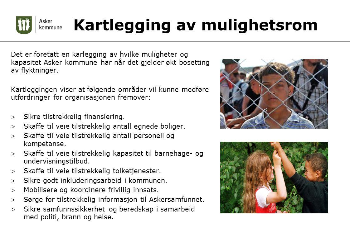 Kartlegging av mulighetsrom Det er foretatt en karlegging av hvilke muligheter og kapasitet Asker kommune har når det gjelder økt bosetting av flyktninger.