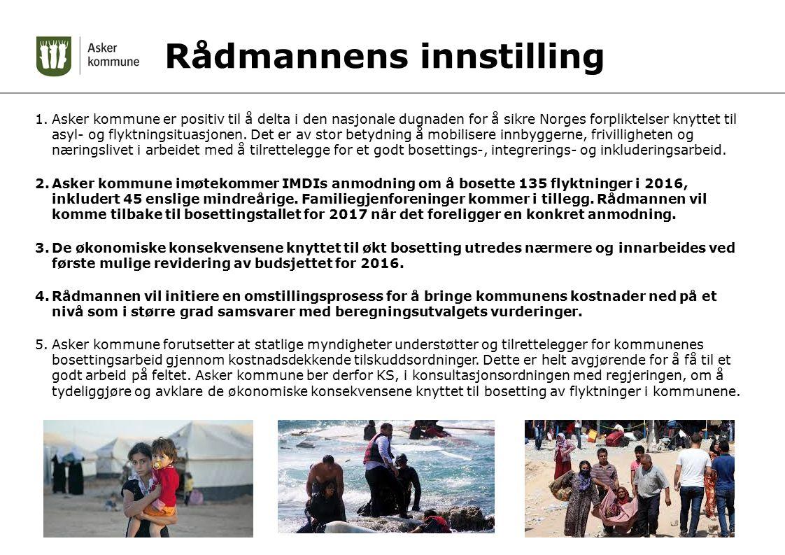 Rådmannens innstilling 1.Asker kommune er positiv til å delta i den nasjonale dugnaden for å sikre Norges forpliktelser knyttet til asyl- og flyktningsituasjonen.