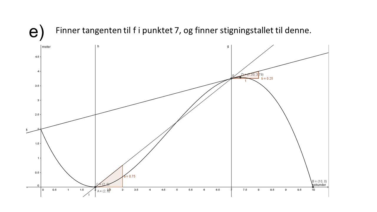 e) Finner tangenten til f i punktet 7, og finner stigningstallet til denne.