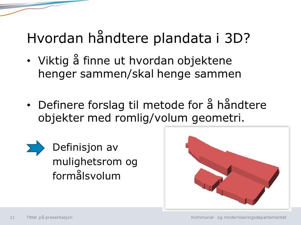 Kommunal- og moderniseringsdepartementet Norsk mal: Tekst uten kulepunkt Hvordan håndtere plandata i 3D.