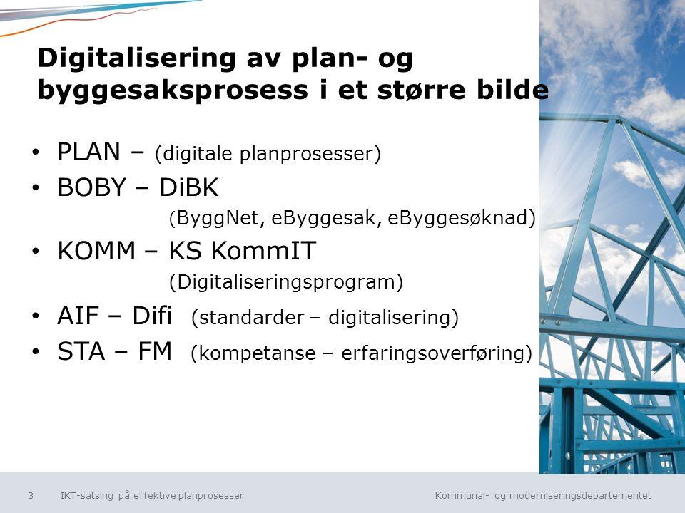 Kommunal- og moderniseringsdepartementet Norsk mal: Tekst uten kulepunkt Digitalisering av plan- og byggesaksprosess i et større bilde PLAN – (digitale planprosesser) BOBY – DiBK ( ByggNet, eByggesak, eByggesøknad) KOMM – KS KommIT (Digitaliseringsprogram) AIF – Difi (standarder – digitalisering) STA – FM (kompetanse – erfaringsoverføring) IKT-satsing på effektive planprosesser3