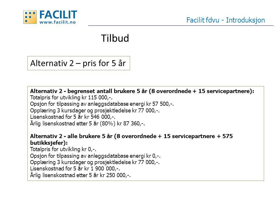 Tilbud Facilit fdvu - Introduksjon Alternativ 2 - begrenset antall brukere 5 år (8 overordnede + 15 servicepartnere): Totalpris for utvikling kr 115 000,-.