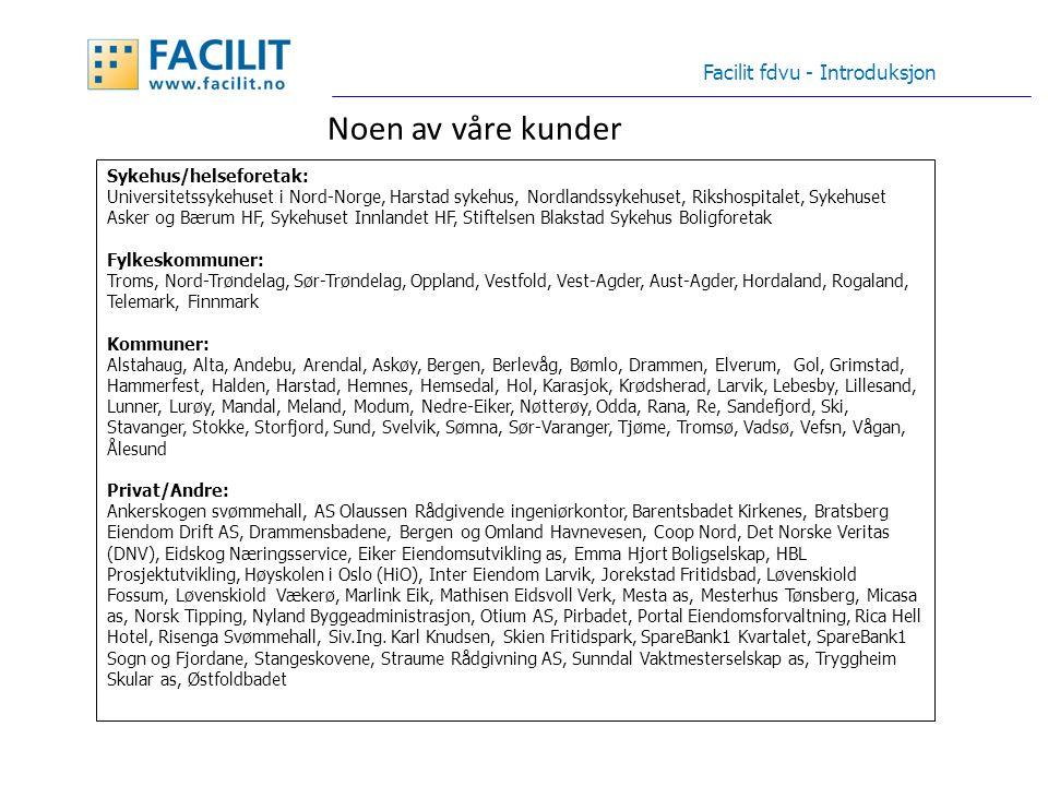 Startside Facilit fdvu - Introduksjon Databasemodell med støtte for fasiliteter: Eiendom, Bygning, Seksjon, Rom, Objekt/bygningsdel Grunneiendom Anlegg