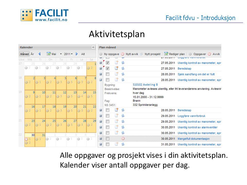 Aktivitetsplan Facilit fdvu - Introduksjon Alle oppgaver og prosjekt vises i din aktivitetsplan.
