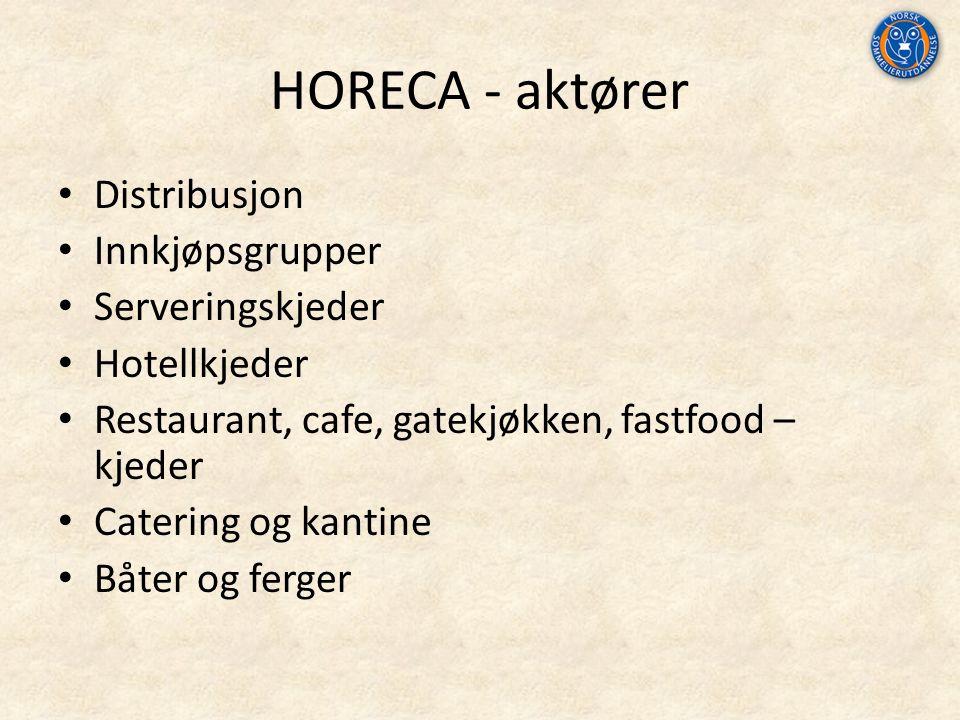 HORECA - aktører Distribusjon Innkjøpsgrupper Serveringskjeder Hotellkjeder Restaurant, cafe, gatekjøkken, fastfood – kjeder Catering og kantine Båter og ferger