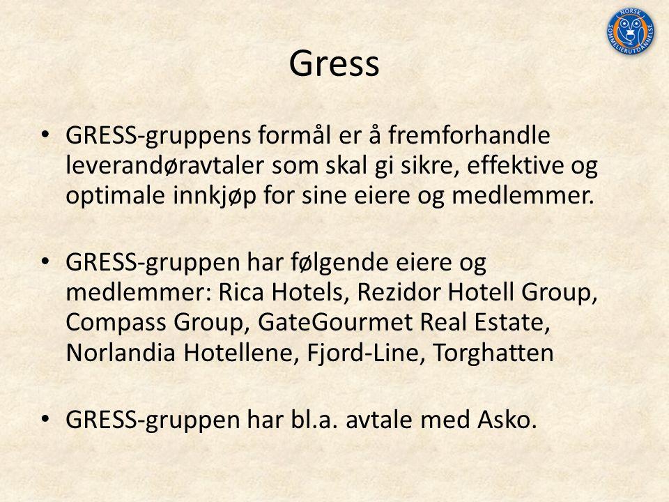 Gress GRESS‐gruppens formål er å fremforhandle leverandøravtaler som skal gi sikre, effektive og optimale innkjøp for sine eiere og medlemmer.