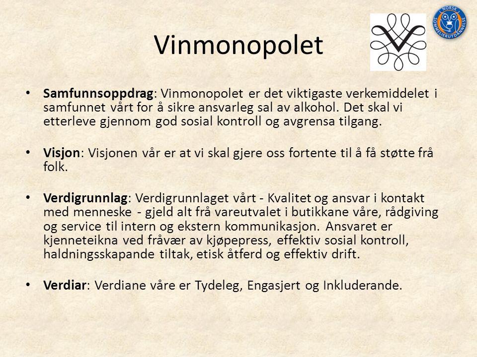 Vinmonopolet Samfunnsoppdrag: Vinmonopolet er det viktigaste verkemiddelet i samfunnet vårt for å sikre ansvarleg sal av alkohol.