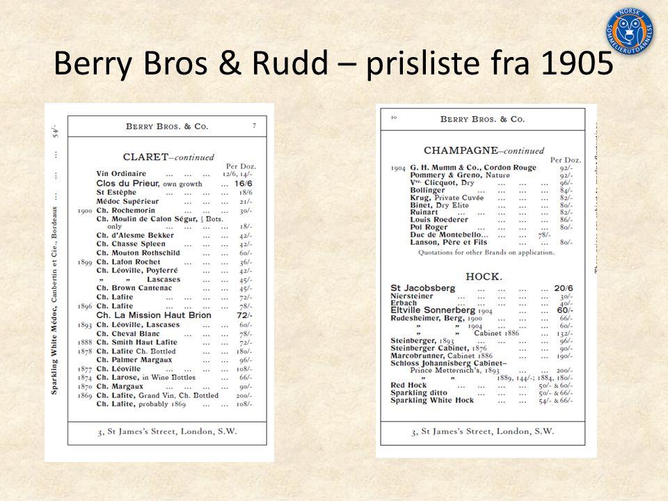 Berry Bros & Rudd – prisliste fra 1905