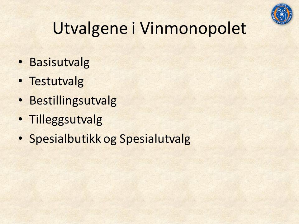 Utvalgene i Vinmonopolet Basisutvalg Testutvalg Bestillingsutvalg Tilleggsutvalg Spesialbutikk og Spesialutvalg