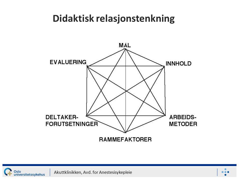 Akuttklinikken, Avd. for Anestesisykepleie Didaktisk relasjonstenkning