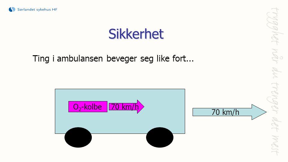 Sikkerhet Ting i ambulansen beveger seg like fort... 70 km/h O 2 -kolbe 70 km/h