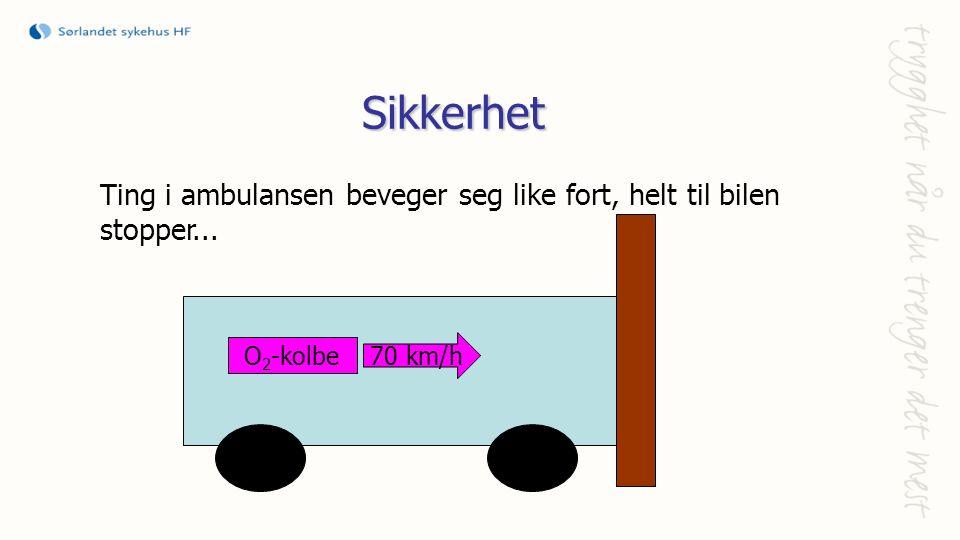 Sikkerhet Ting i ambulansen beveger seg like fort, helt til bilen stopper... O 2 -kolbe 70 km/h