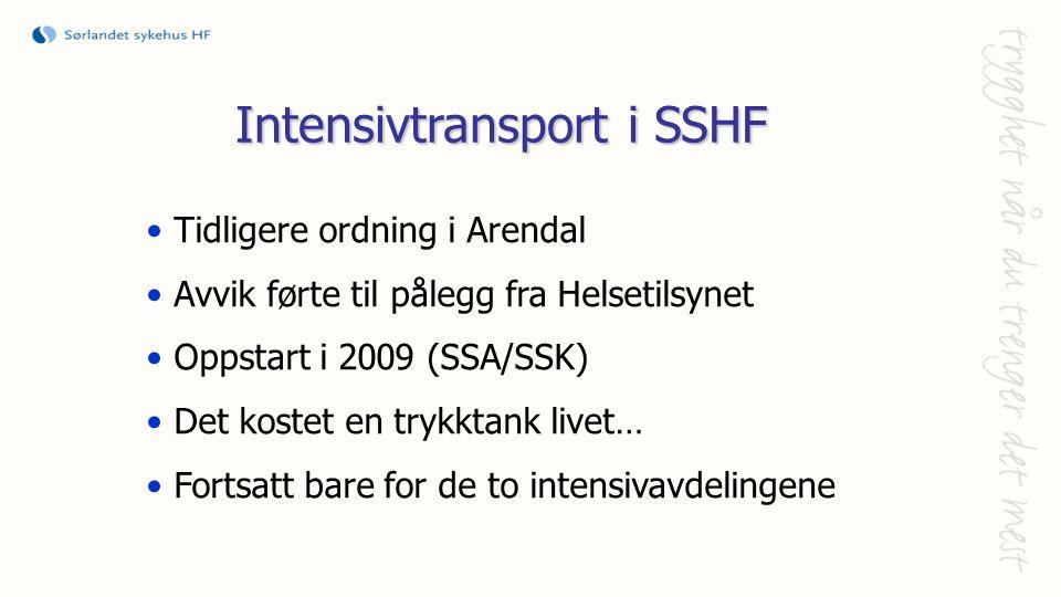 Intensivtransport i SSHF Tidligere ordning i Arendal Avvik førte til pålegg fra Helsetilsynet Oppstart i 2009 (SSA/SSK) Det kostet en trykktank livet… Fortsatt bare for de to intensivavdelingene