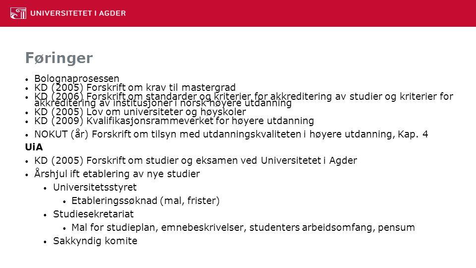 Føringer Bolognaprosessen KD (2005) Forskrift om krav til mastergrad KD (2006) Forskrift om standarder og kriterier for akkreditering av studier og kriterier for akkreditering av institusjoner i norsk høyere utdanning KD (2005) Lov om universiteter og høyskoler KD (2009) Kvalifikasjonsrammeverket for høyere utdanning NOKUT (år) Forskrift om tilsyn med utdanningskvaliteten i høyere utdanning, Kap.