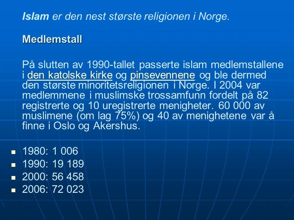 Islam er den nest største religionen i Norge.Medlemstall På slutten av 1990-tallet passerte islam medlemstallene i den katolske kirke og pinsevennene og ble dermed den største minoritetsreligionen i Norge.