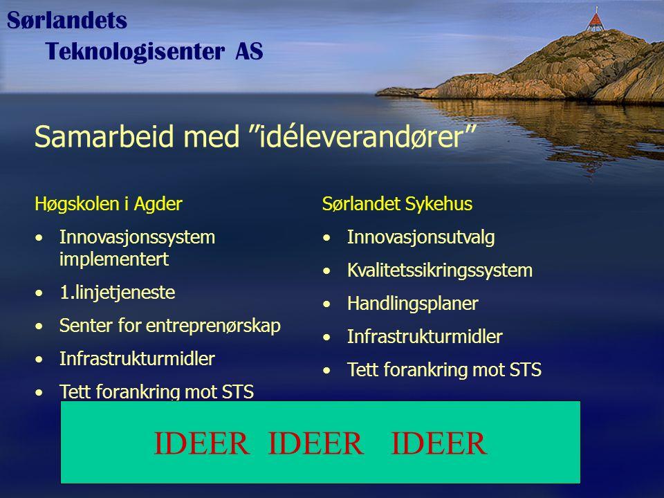 """Sørlandets Teknologisenter AS Samarbeid med """"idéleverandører"""" Høgskolen i Agder Innovasjonssystem implementert 1.linjetjeneste Senter for entreprenørs"""