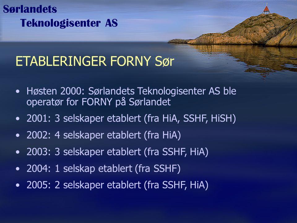Sørlandets Teknologisenter AS ETABLERINGER FORNY Sør Høsten 2000: Sørlandets Teknologisenter AS ble operatør for FORNY på Sørlandet 2001: 3 selskaper