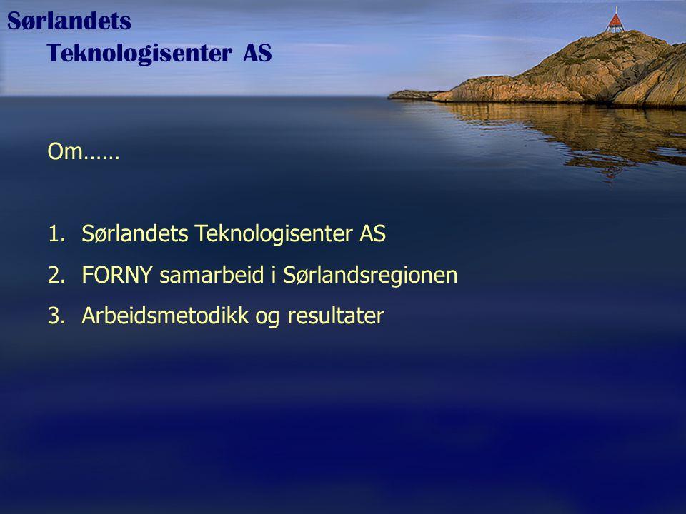 Sørlandets Teknologisenter AS Om…… 1.Sørlandets Teknologisenter AS 2.FORNY samarbeid i Sørlandsregionen 3.Arbeidsmetodikk og resultater