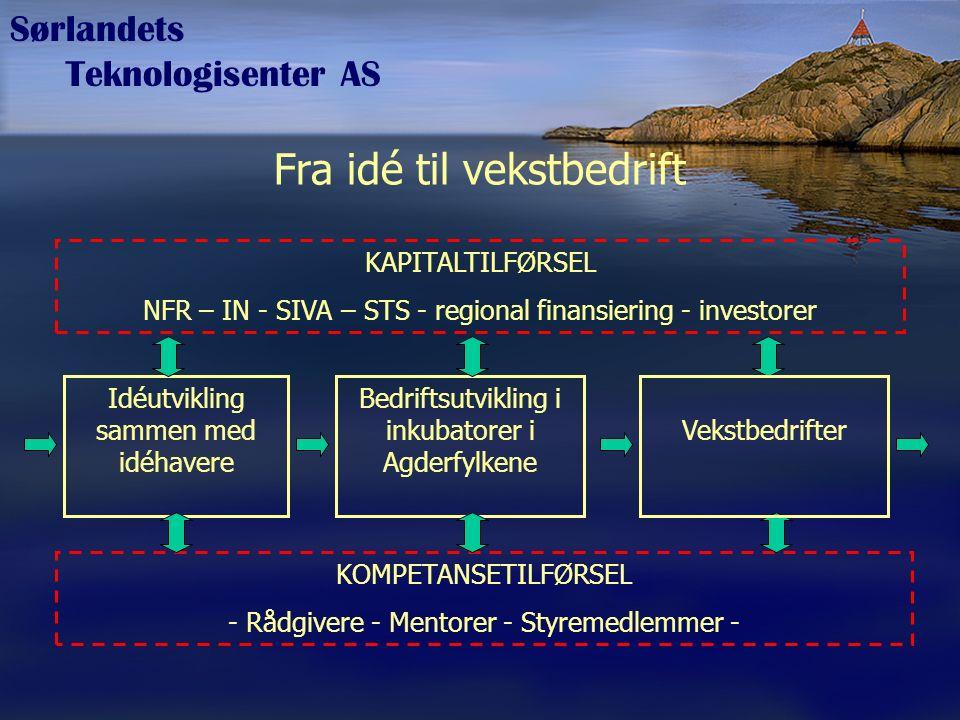 Sørlandets Teknologisenter AS Operatør for virkemiddelprogrammer STS er operatør for det offentlige virkemiddelapparatet, men er ikke selv en del av virkemiddelapparatet –Trekker nasjonale nyskapingsprogrammer til Sørlandet –Trekker nasjonale midler til landsdelen –Samarbeider med regional og kommunal forvaltning om gjennomføring og finansiering av nyskapingstiltak, for eksempel innovasjon og omstilling For eksempel operatør for: –Innovasjon Norge –Norges forskningsråd –SIVA s.f –Aetat –Fylkeskommunene –Agder IKT Senter