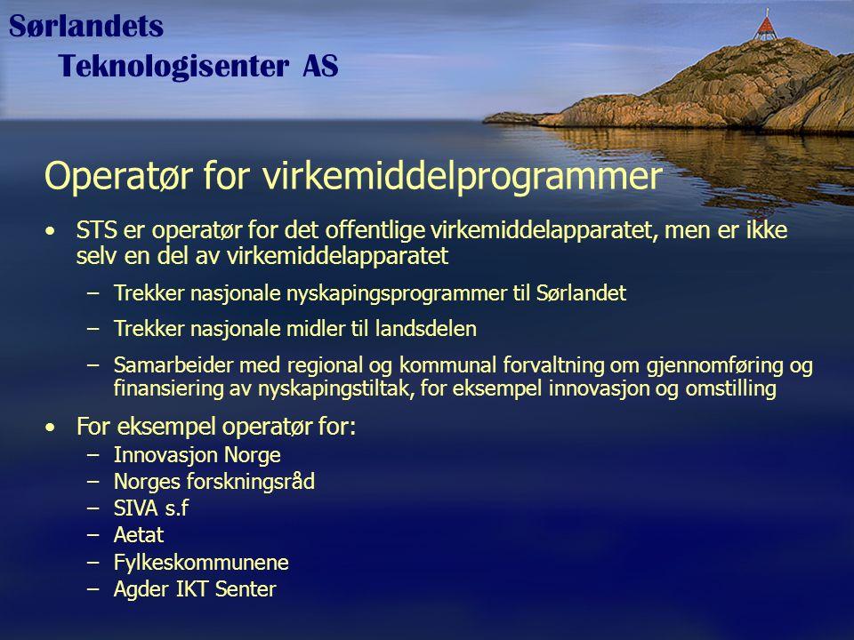 Sørlandets Teknologisenter AS Operatør for virkemiddelprogrammer STS er operatør for det offentlige virkemiddelapparatet, men er ikke selv en del av v