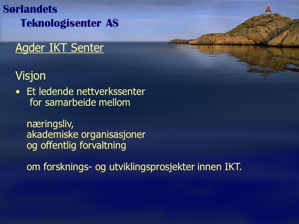 Sørlandets Teknologisenter AS Agder IKT Senter Visjon Et ledende nettverkssenter for samarbeide mellom næringsliv, akademiske organisasjoner og offent