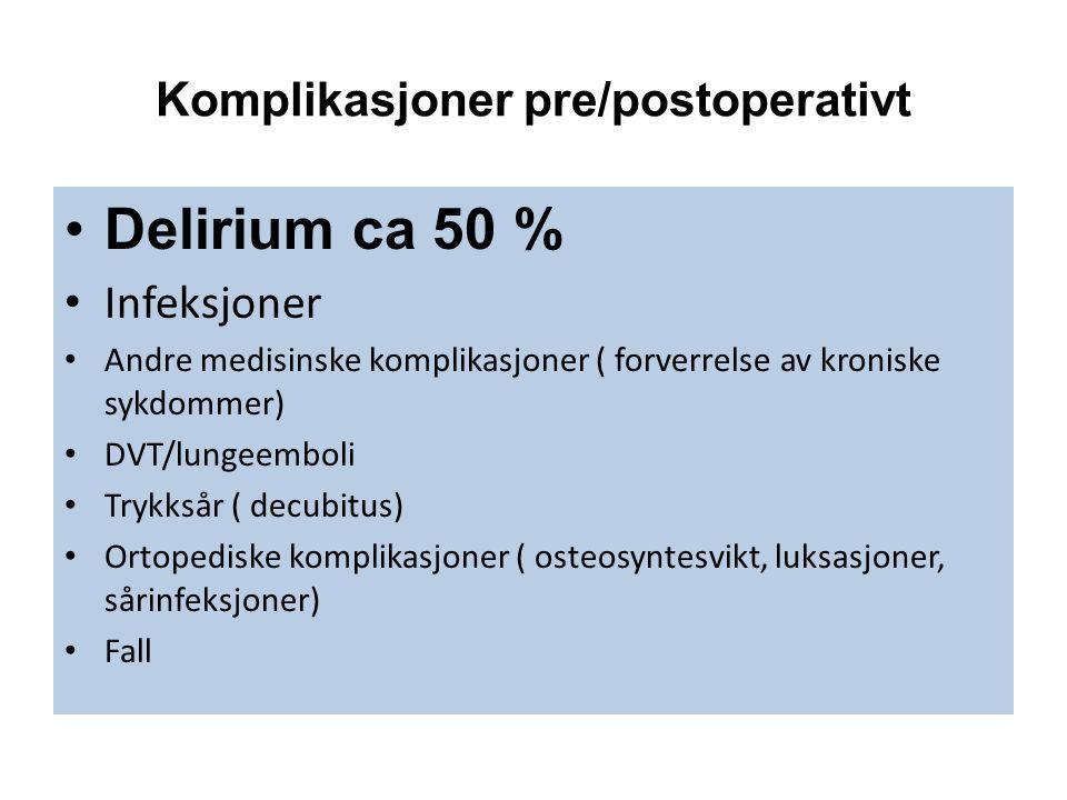 Komplikasjoner pre/postoperativt Delirium ca 50 % Infeksjoner Andre medisinske komplikasjoner ( forverrelse av kroniske sykdommer) DVT/lungeemboli Trykksår ( decubitus) Ortopediske komplikasjoner ( osteosyntesvikt, luksasjoner, sårinfeksjoner) Fall