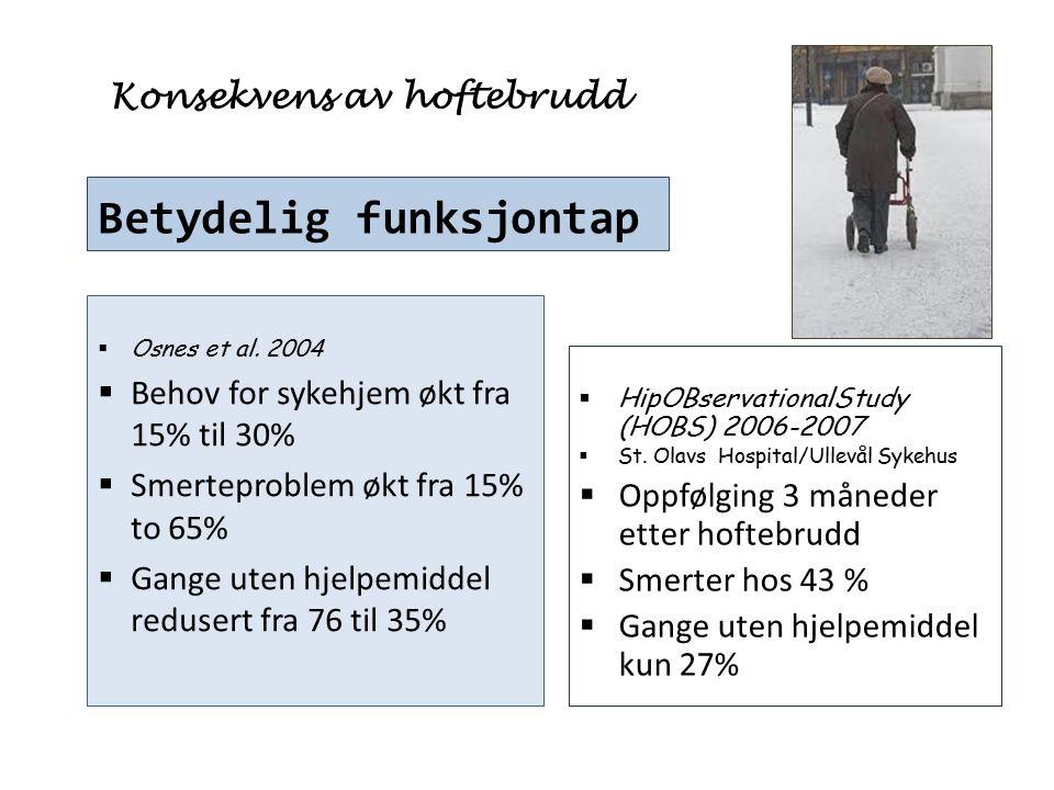 Konsekvens av hoftebrudd Betydelig funksjontap  Osnes et al. 2004  Behov for sykehjem økt fra 15% til 30%  Smerteproblem økt fra 15% to 65%  Gange