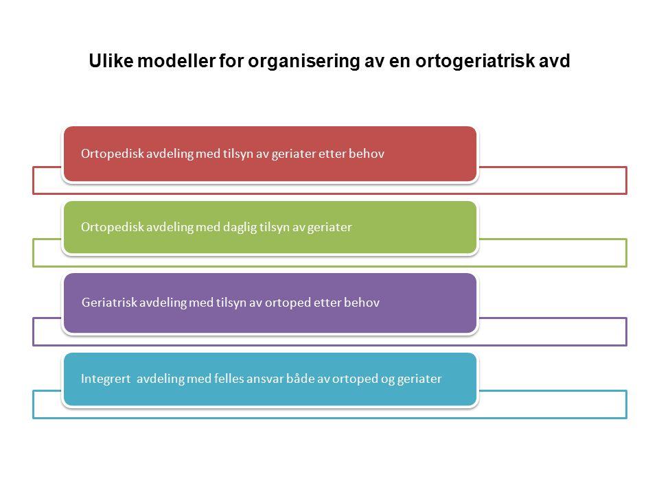 Ulike modeller for organisering av en ortogeriatrisk avd Ortopedisk avdeling med tilsyn av geriater etter behov Ortopedisk avdeling med daglig tilsyn