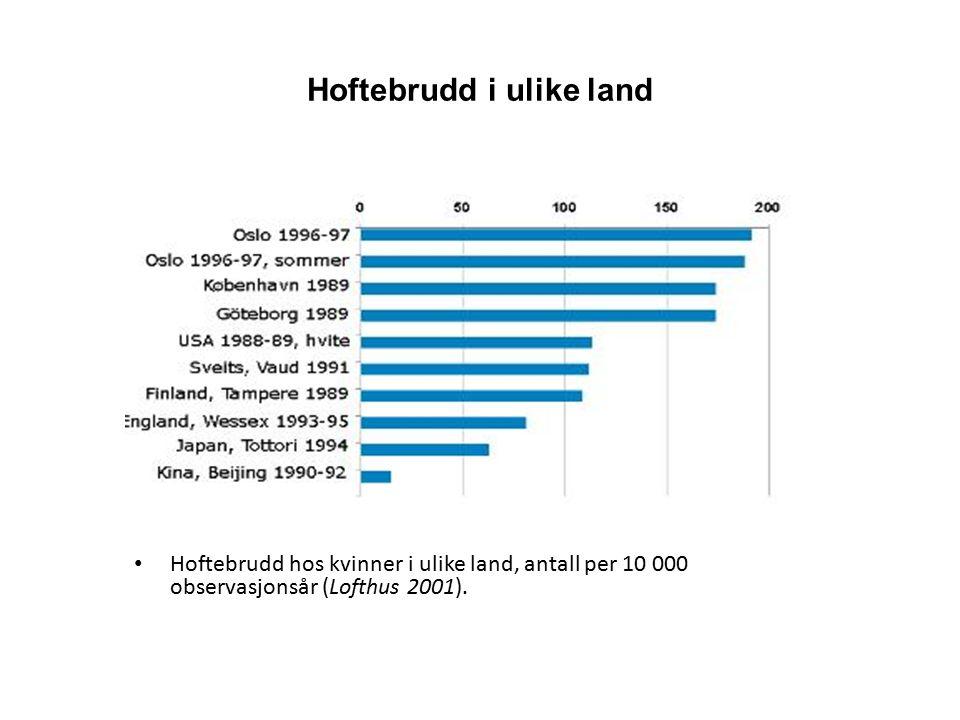 Hoftebrudd i ulike land Hoftebrudd hos kvinner i ulike land, antall per 10 000 observasjonsår (Lofthus 2001).