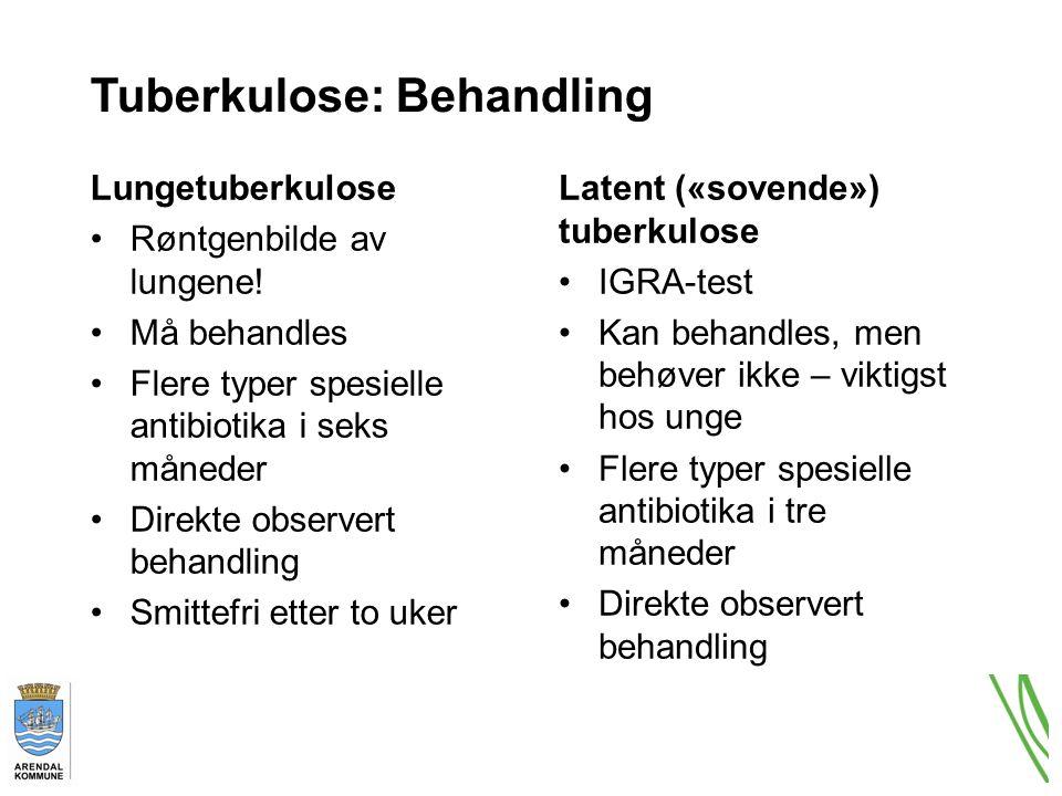 Tuberkulose: Behandling Lungetuberkulose Røntgenbilde av lungene.
