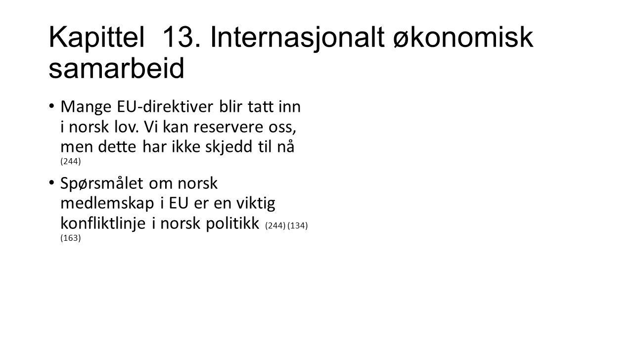Kapittel 13.Internasjonalt økonomisk samarbeid Mange EU-direktiver blir tatt inn i norsk lov.