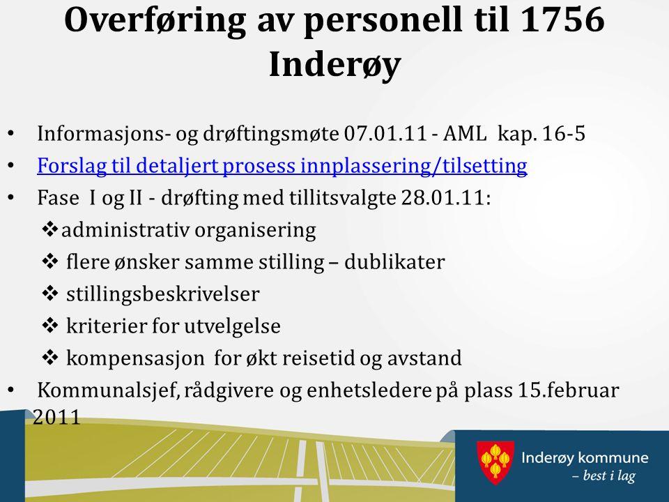 Overføring av personell til 1756 Inderøy Informasjons- og drøftingsmøte 07.01.11 - AML kap.