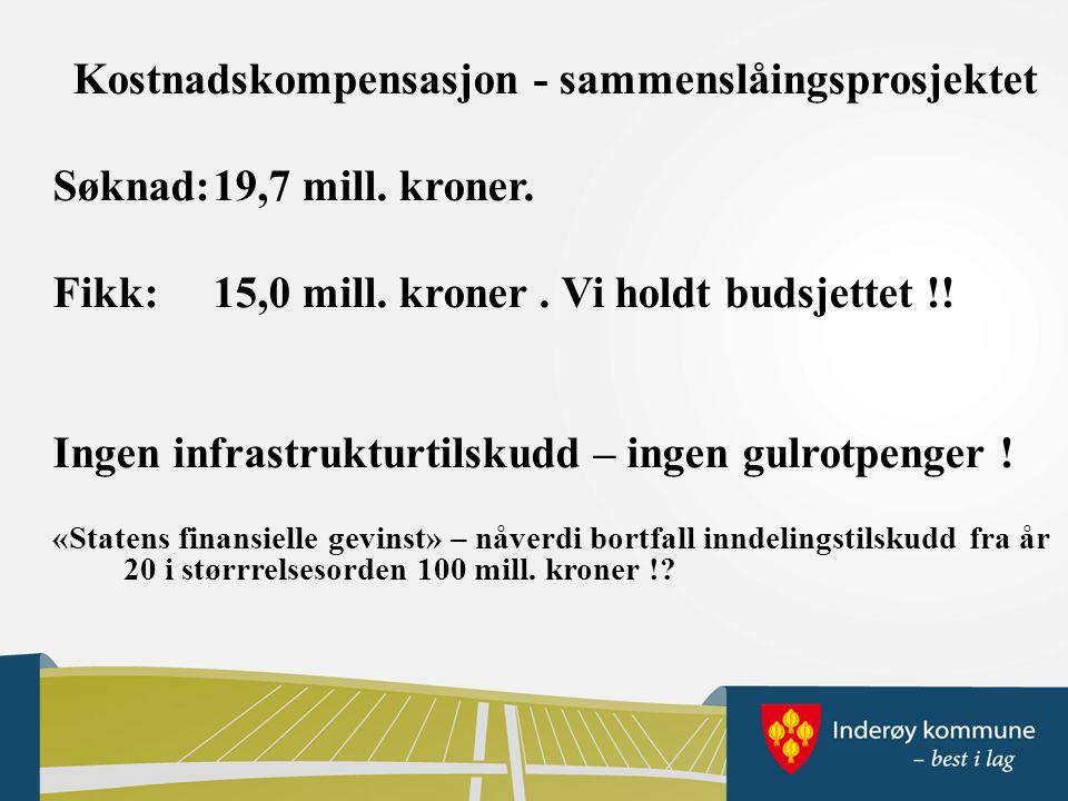 Kostnadskompensasjon - sammenslåingsprosjektet Søknad:19,7 mill.