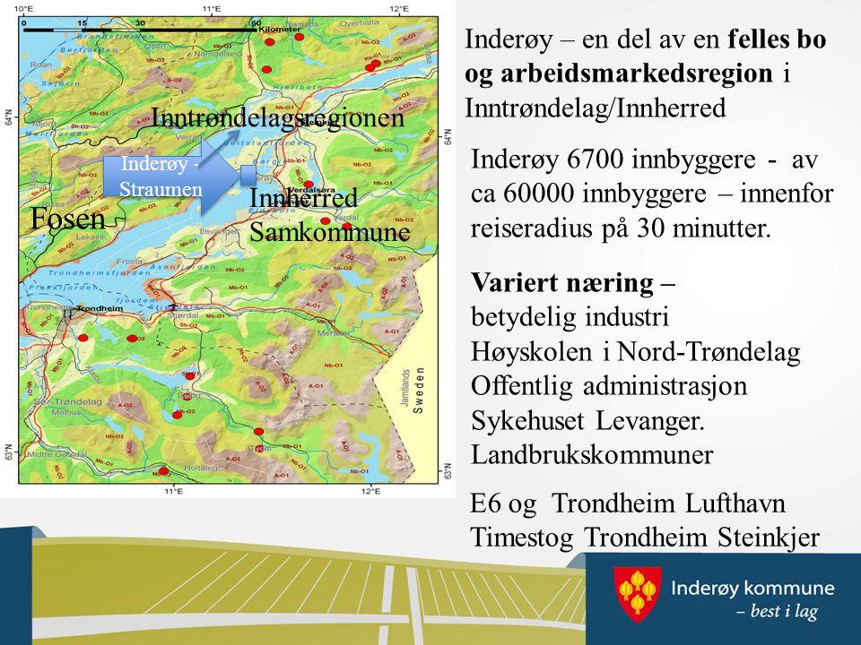 Inderøy – en del av en felles bo og arbeidsmarkedsregion i Inntrøndelag/Innherred Inderøy 6700 innbyggere - av ca 60000 innbyggere – innenfor reiseradius på 30 minutter.