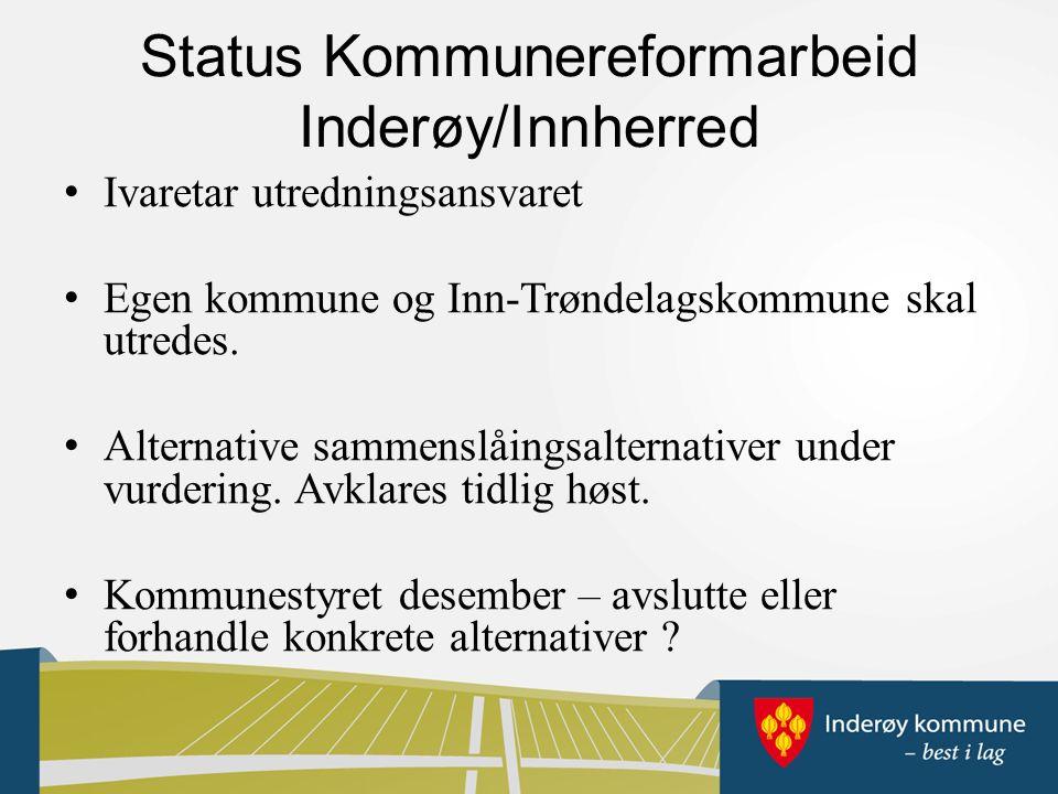Status Kommunereformarbeid Inderøy/Innherred Ivaretar utredningsansvaret Egen kommune og Inn-Trøndelagskommune skal utredes.
