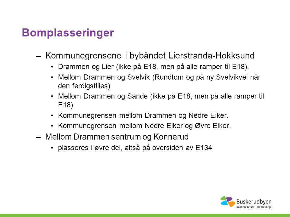 Bomplasseringer –Kommunegrensene i bybåndet Lierstranda-Hokksund Drammen og Lier (ikke på E18, men på alle ramper til E18).