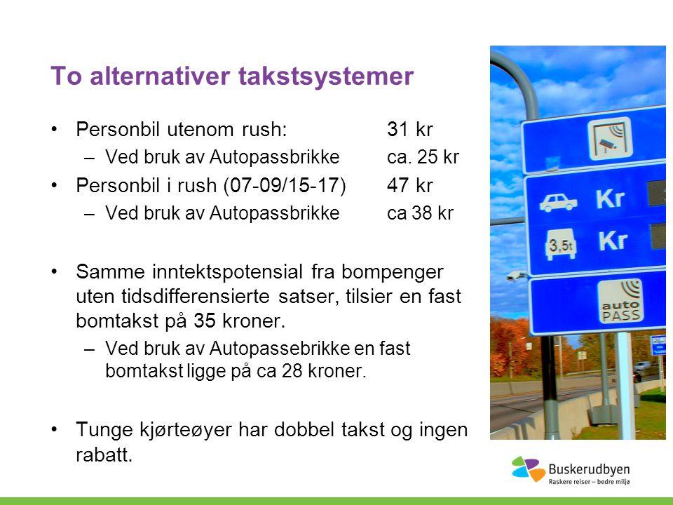 To alternativer takstsystemer Personbil utenom rush:31 kr –Ved bruk av Autopassbrikkeca.