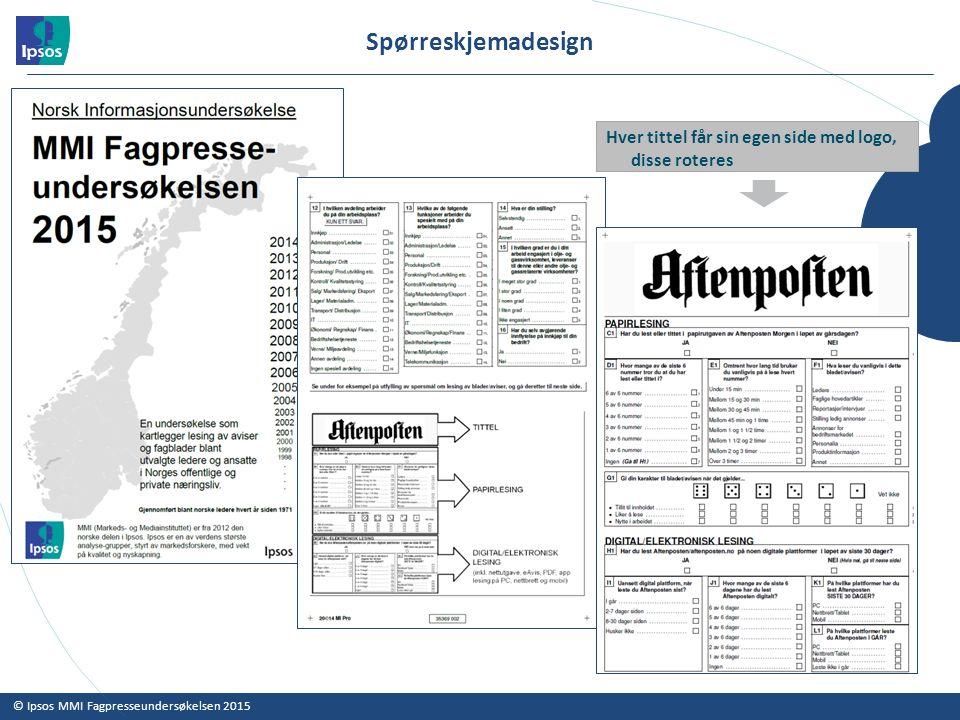 © Ipsos MMI Fagpresseundersøkelsen 2015 Spørreskjemadesign Hver tittel får sin egen side med logo, disse roteres