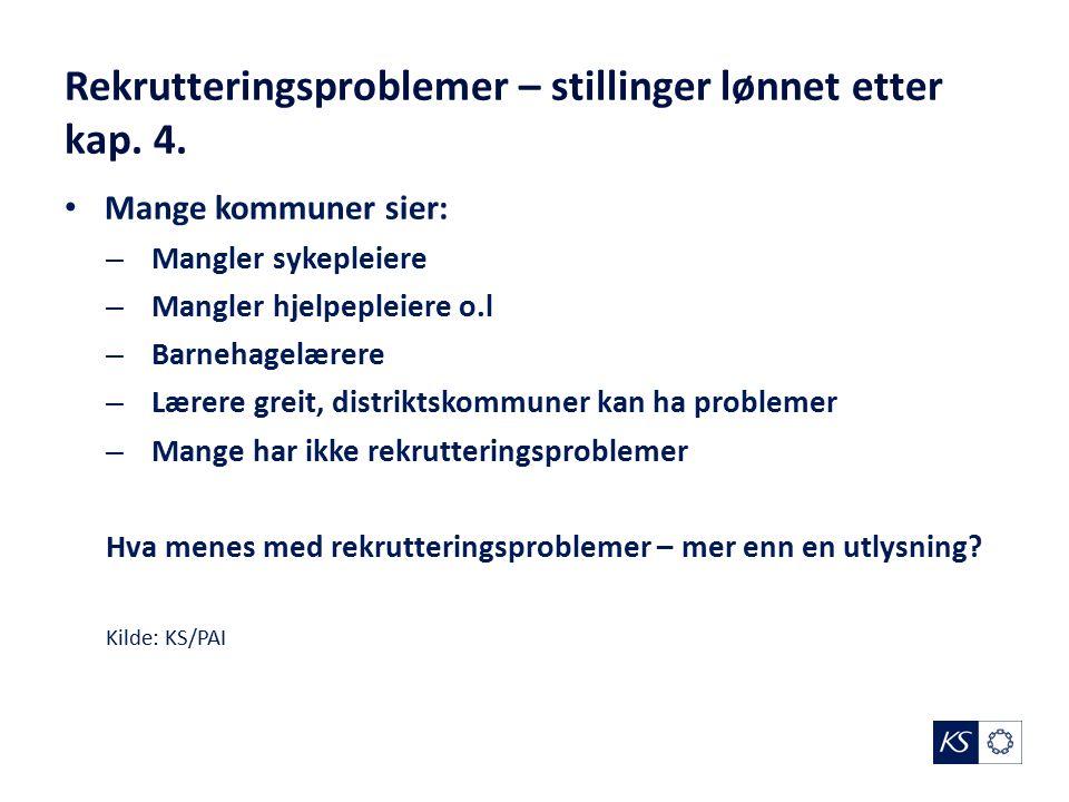 Rekrutteringsproblemer – stillinger lønnet etter kap.