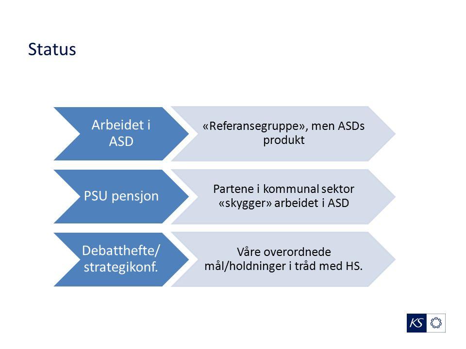 Status Arbeidet i ASD «Referansegruppe», men ASDs produkt PSU pensjon Partene i kommunal sektor «skygger» arbeidet i ASD Debatthefte/ strategikonf.