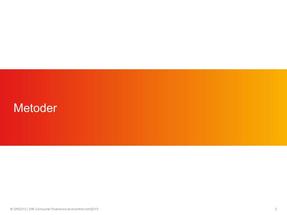 © GfK2013 | GfK Consumer Scan/www.dvd-control.com|2013 4 To metoder for å måle salget av film til hjemmemarkedet DVD-Control (tilbudet) vs ConsumerScan (etterspørselen) DVD-Control (Retail Audit) ConsumerScan Hjemmemarked et for kjøp av film Salgsdata på strekkodenivå Salgsdata (POS) blir innhentet fra en rekke butikkerkjeder i forkskjellige kanaler Baseres på ukentlige salgsdata Hensikten å måle salget ut fra tilbudet Salgsdata på strekkodenivå Salgsdata (POS) blir innhentet fra en rekke butikkerkjeder i forkskjellige kanaler Baseres på ukentlige salgsdata Hensikten å måle salget ut fra tilbudet 1500 husholdninger rapporterer virkelige innkjøp på strekkodenivå Representativt mhp.