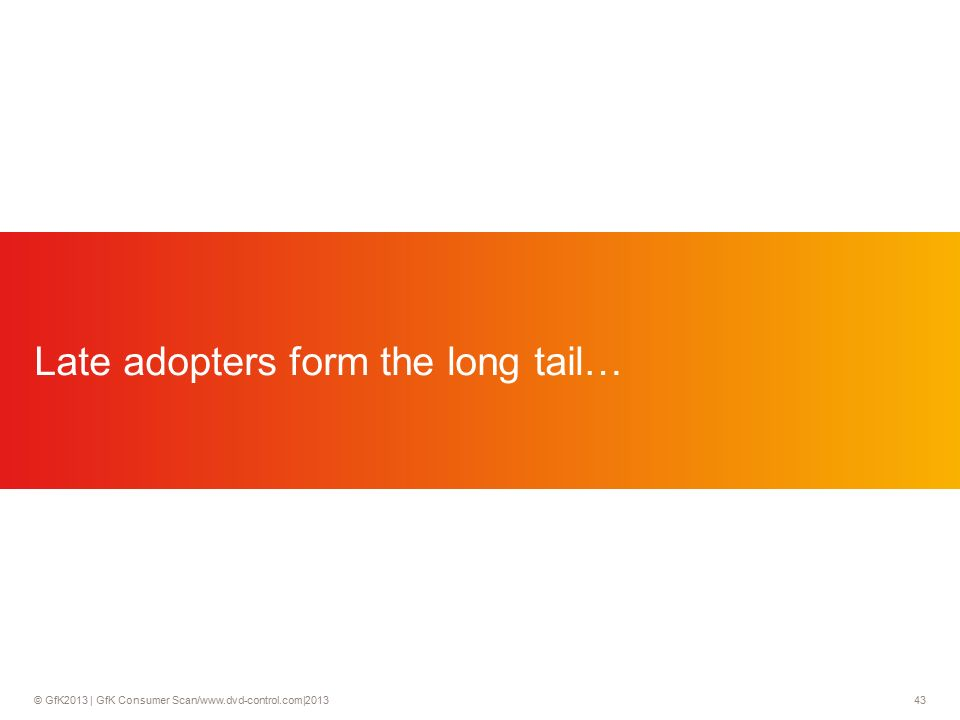 © GfK2013 | GfK Consumer Scan/www.dvd-control.com|2013 43 Late adopters form the long tail…