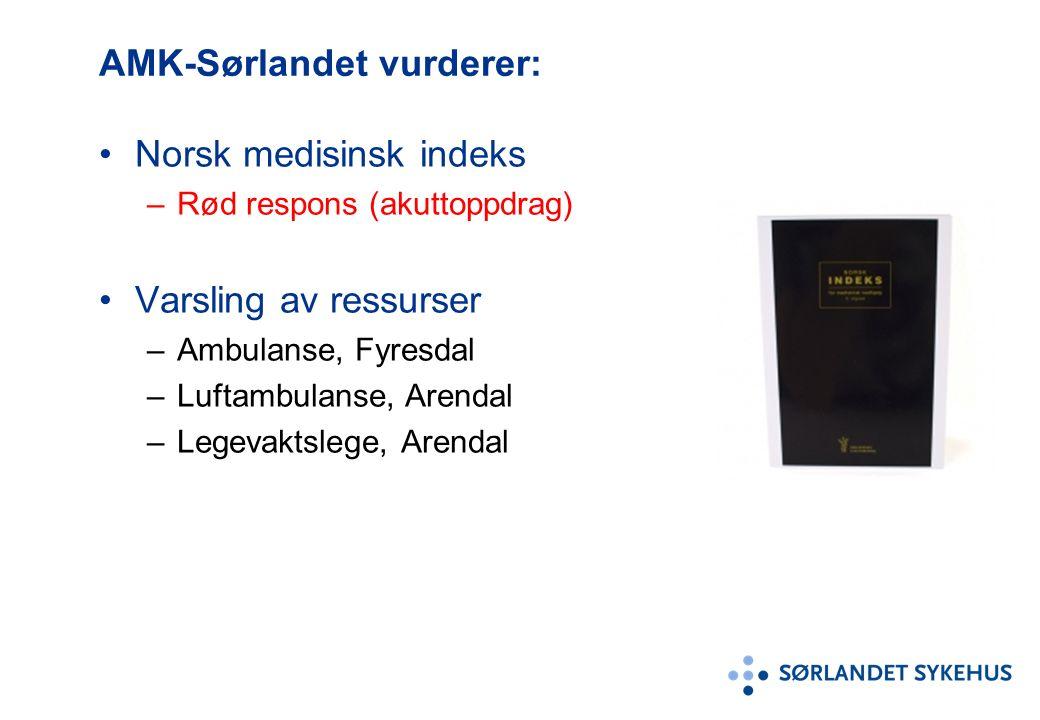 AMK-Sørlandet vurderer: Norsk medisinsk indeks –Rød respons (akuttoppdrag) Varsling av ressurser –Ambulanse, Fyresdal –Luftambulanse, Arendal –Legevaktslege, Arendal